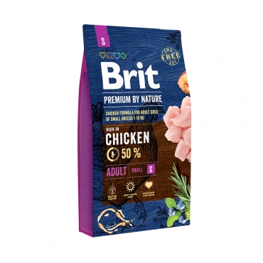 Brit Premium by Nature Dog Adult S курица+рис (д/маленьких пород от 1-7 лет) сухой д/собак