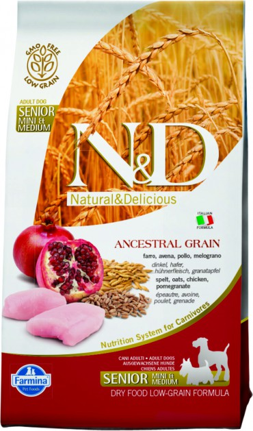 N&D Low Grain Chicken & Pomegranate Senior Medium/Mini(спельта, овес, курица, гранат) для пожилых собак средних и мелких пород