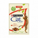 Cat Chow Adult 1+, говядина и баклажаны в желе, пауч, 85 г