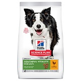Hills Science Plan™ Canine Adult 7+ Youthful Vitality Medium Breed with Chicken & Rice курица и рис, для собак старше 7 лет средних пород